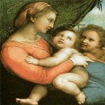 Raphael Sanzio (Italian: Raffaello) (1483 - 1520)  Madonna della tenda  Oil on panel, 1514  65,8 cm &#215; 51,2 cm (259 in &#215; 202 in)  Alte Pinakothek, Munich, Germany
